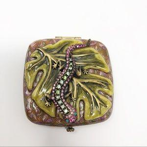 Jay Strongwater Salamander & Leaf Compact Mirror